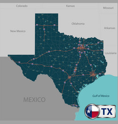 map of state texas usa vector image