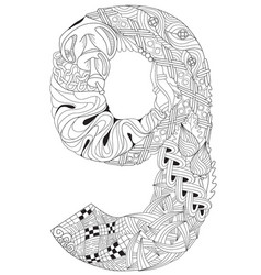 number nine zentangle decorative object vector image vector image