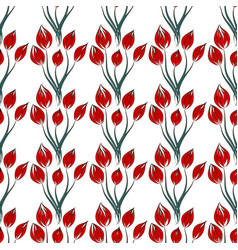 Pattern red flower on white background vector