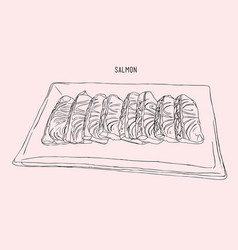 salmon sliced on a plate sketch vector image vector image
