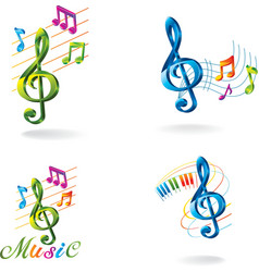 Set of color music icons vector image vector image