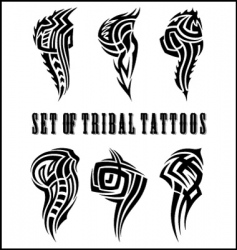 set of tribal tattoos vector image