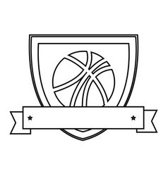Silhouette shield with basketball ball and ribbon vector