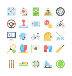 Sports and games flat colored icons 2 vector
