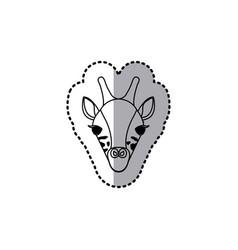 Sticker silhouette close up giraffe animal vector