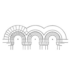 Stilted arches modern romanesque vintage engraving vector