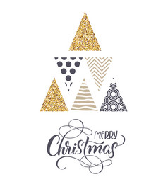 stylized christmas trees and the text of merry vector image