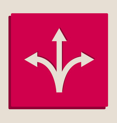 Three-way direction arrow sign grayscale vector