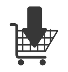 Cart buy arrow down market isolated vector