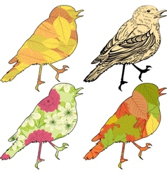 Set of birds with patch silhouettes vector