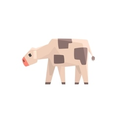 Toy simple geometric farm cow calf browsing funny vector