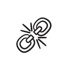 Broken link sketch icon vector