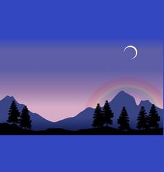 rainbow on mountain scenery silhouettes vector image