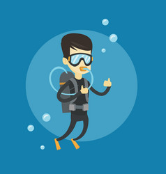 man diving with scuba and showing ok sign vector image