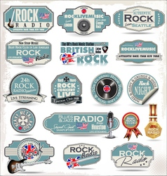 Rock music labels vector