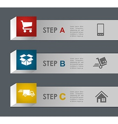 Web shopping and shipping steps vector