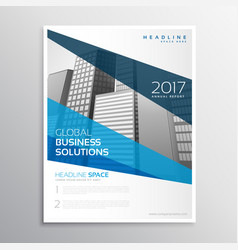 Clean geometric blue brochure template design for vector
