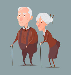 Grandmother and grandfather walking with sticks vector