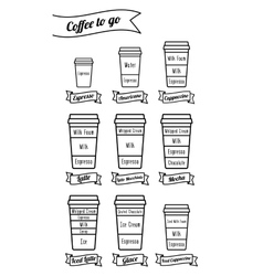 Coffee to go coffe types and recipe isolated vector