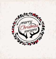 Christmas greeting design element vintage style vector