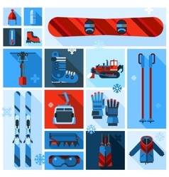 Skiing Equipment Icons Set vector image