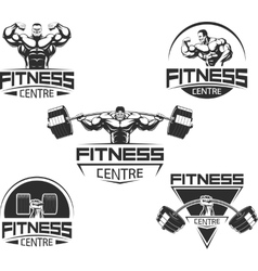 Icons for bodybuilding and fitness vector