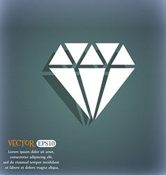 Diamond icon on the blue-green abstract background vector