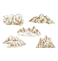 Mountain landscapes retro sketch icons vector