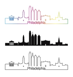Philadelphia skyline linear style with rainbow vector