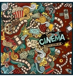 Cartoon cute doodles cinema frame design vector