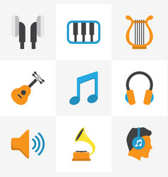Audio flat icons set collection of earpiece ear vector