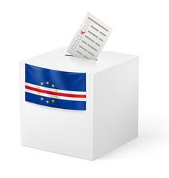 Ballot box with voting paper cape verde vector