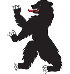 Bear black rampant vector