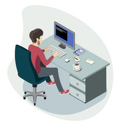businessman working at the computer isometric vector image