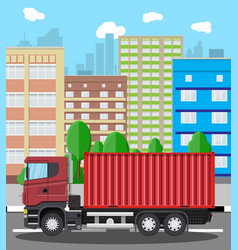cargo delivery truck with metal container vector image vector image