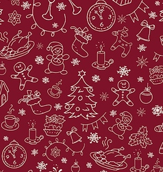 Christmas new year seamless doodle background vector