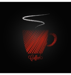 Coffee cup red design background vector
