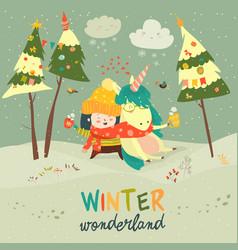 Cute girl hugging unicorn winter wonderland vector