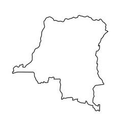 democratic republic congo map of black contour vector image