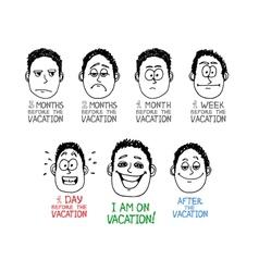 Emotion cartoon face vector image vector image