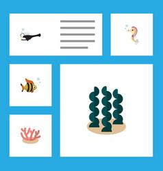 flat icon sea set of hippocampus fish alga and vector image vector image
