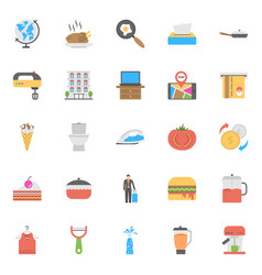 Flat icon set of hotels and restaurants vector