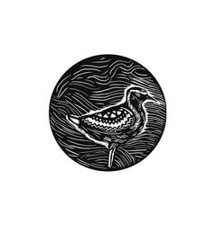 Golden plover standing circle tribal art vector