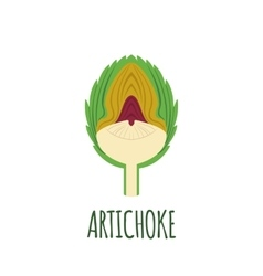 Half of artichoke icon in flat style vector
