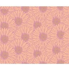 Hand drawn sketch gerbera floral pattern vector