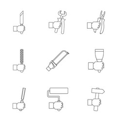 house repair instrument icon set outline style vector image vector image