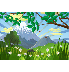 landscape - mountains trees and flowers in the vector image vector image