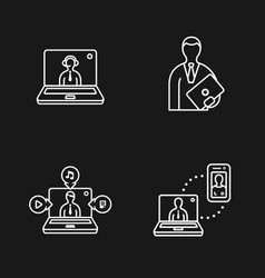 laptop and people icons vector image vector image