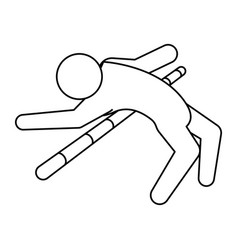 line pictogram man practice pole vault sport vector image