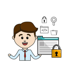 Man with digital document padlock security and vector